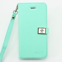 fashion Ailun leather wallet card flip Case Cover Skin For Apple iPhone 5 5G 5S (mint green)
