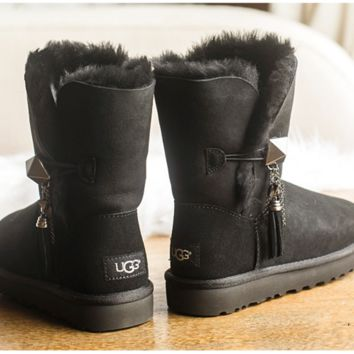 """UGG"" Women Fashion Wool Snow Boots Tassel Black"