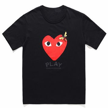 PLAY tide brand men's and women's cotton loose round neck half sleeve T-shirt Black