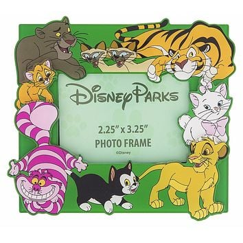 Disney Parks Magnetic Photo Frame Cats Figaro Simba Marie Cheshire Cat New