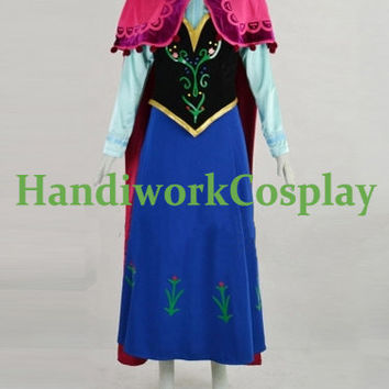 Frozen Anna Costume,Anna Blue Winter Dress Cosplay Full Outfit Custom Any Size For adult,Kids And Plus Size