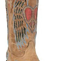 XKH Corral Ladies Distressed Tan w/Winged Heart Red & Blue Inlay Snip Toe Western Boot