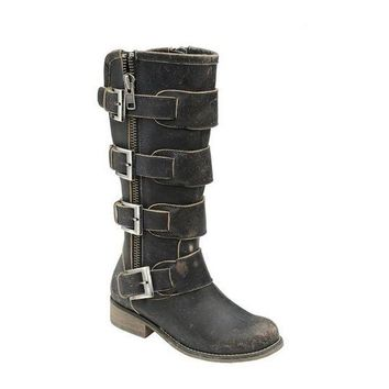 ONETOW Corral Distressed Black Straps & Zipper Boots P5079