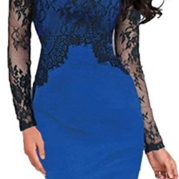 Women's Pinup Lace Tunic Bodycon Evening Party Dress