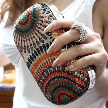 Womens New Evening or Day Clutch with Knuckle Ring Clasp - Unique