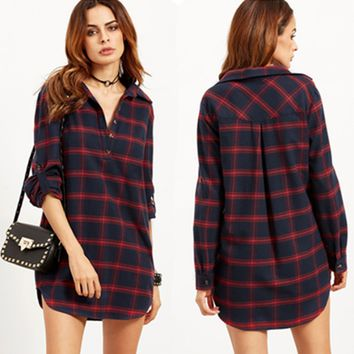 Sell like hot cakes woman Long sleeve red grid Shirts