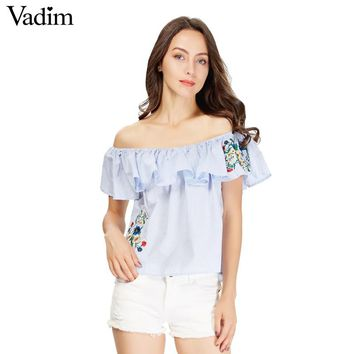 Women sweet ruffles floral embroidery striped shirts off shoulder neck blouse summer cute casual tops