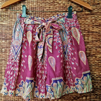 Pink High waisted Shorts Paisley Boho print Cotton Gypsy Bohemian fabric For Beach Summer Women Fashion Beachwear Clothing Gift for her