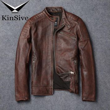 Luxury Real Leather Jacket Men Fashion Vintage Genuine Leather Coat Moto Biker Cowhide Bomber Jackets jaqueta de couro masculino