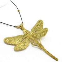 Pre-Columbian Style 24k Gold Plated Embossed Dragonfly (L) Pendant
