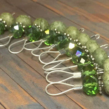 Green Grass Wire Loop Stitch Markers