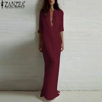 ZANZEA Fashion Vestidos 2017 Women Dress Sexy Casual Dress Long Sleeve Deep V Neck Line Split Solid Long Maxi Dress Plus Size