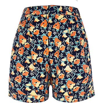 River Island Womens Navy floral print casual shorts