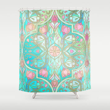 Floral Moroccan in Spring Pastels - Aqua, Pink, Mint & Peach Shower Curtain by Micklyn