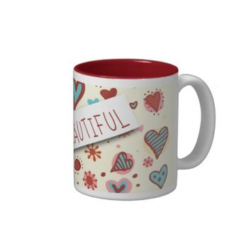 Stay Beautiful - Cute Love Hearts Coffee Mug