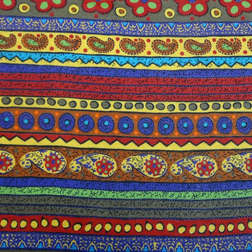One Yard Cut of 1990s Vintage Poly Cotton Blend Knit Dress Making Fabric, Paisley, Southwest Stripe, Tandem Textiles, 60 In. Home Sew Fabric