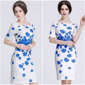 Vintage, Princess Kate Poppy Floral Blue Print Short Sleeve Summer, Celebrity Style Dress women clothing