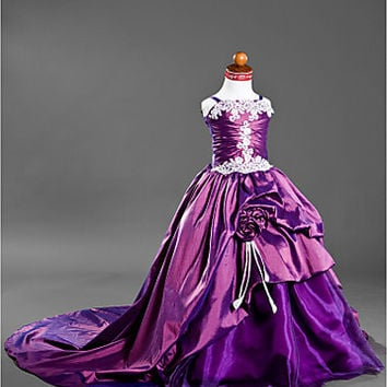 Ball Gown Spaghetti Straps Court Train Taffeta Satin Flower Girl Dress