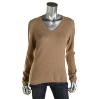 Charter Club Womens Cashmere V-Neck Pullover Sweater