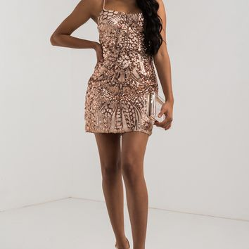 AKIRA Corset Lace Up Sequin Semi Sheer Bodycon Mini Dress in Rose Gold