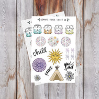2-Pack Hippie Boho 70s Retro Collection Stickers for Journal and Planner