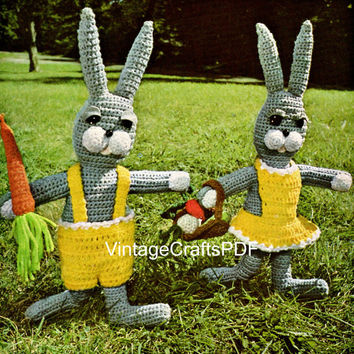 1970s Bunny Boy & Girl Crochet Pattern-Instant PDF-Vintage Easter Bunnies, basket, overalls, dress, vegetables-Stuffed Dolls