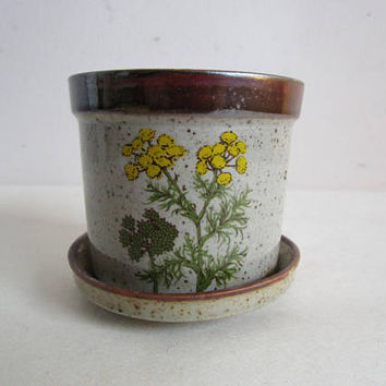 Vintage 1970s Floral Planter Takahashi 70s Ceramic Yellow Botanical Japanese Plant Pot Vase w-Tray