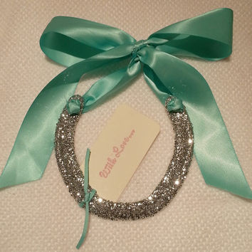 Lucky Silver Glitter Horseshoe with Tiffany Blue Satin Ribbon with Gift Tag-Wedding Gift-Valentine's Day Gift