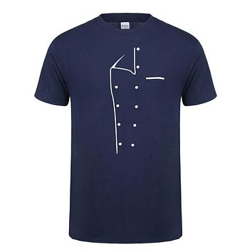Summer Men Chef T-shirt Short Sleeve O Neck Chef Cook Clothing T Shirts Cotton Men Tops
