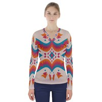 Symmetric Distorted Shapes V Neck Long Sleeve Top V-Neck Long Sleeve Top