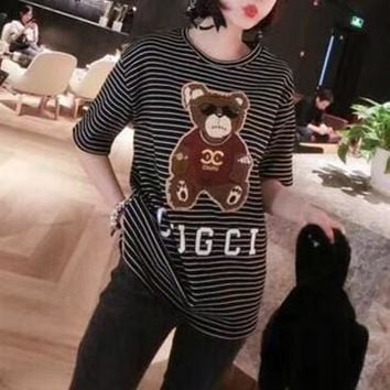 """Gucci"" Women Casual Fashion Letter Bear Pattern Short Sleeve Stripe T-shirt Top Tee"