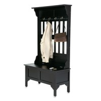 Home Styles Hall Tree and Storage Bench in Black Finish
