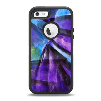 The Grunge Dark Blue Painted Overlay Apple iPhone 5-5s Otterbox Defender Case Skin Set