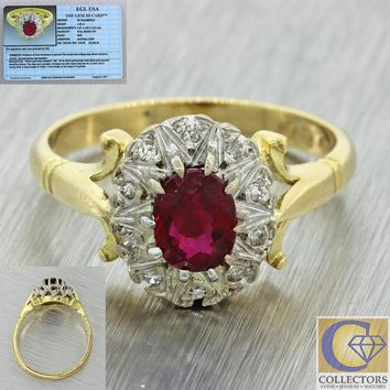 1880s Antique Victorian 18k Yellow Gold Natural Ruby Diamond Engagement Ring EGL