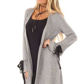 Heather Grey Long Cardigan with Tie Details on Sleeves