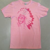 Pink with Pink Indian Chief women's t-shirt