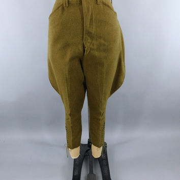 Vintage 1920s Calvary Pants / 1930s US Army Wool Men's Riding Pants / Calvary Jodhpurs / OD Olive Drab Green / 20s 30s Military Jodhpurs