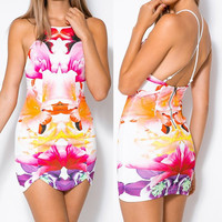 Multicolor Spaghetti Strap Backless Floral Printed Dress