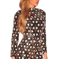 JRRY Sexy Long Sleeve Patchwork Bodycon Sequinned Women Playsuit Turtleneck Short Ladies Sequin Jumpsuit