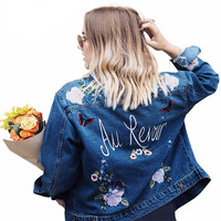 Embroidery denim vintage jacket coat
