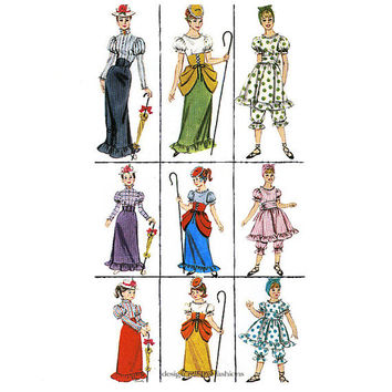 GIRLS B0-PEEP Pattern 1900s Bathing Suit & Gibson Girl Dress-Up Costumes Butterick 3273 Size 10 12 UNCuT Vintage Girls Sewing Patterns