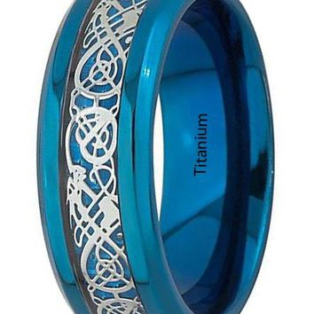 CERTIFIED 8mm Blue Titanium Silver Dragon Celtic Pattern Inlay Ring Jewelry For Men