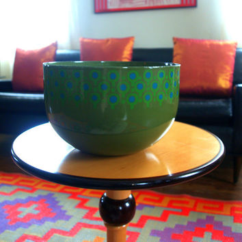 West German VINTAGE MIDCENTURY MODERN Enamelware Large Vefa Enamel Serving Bowl designed by Merrill Ames Mid Century Scandinavian Pattern