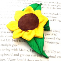 Sunflower (Halloween/Fall) Hair Bow - Mini