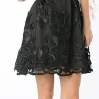 Short Sleeve Lace Overlay Black Cocktail Dress (1 Colors Available)