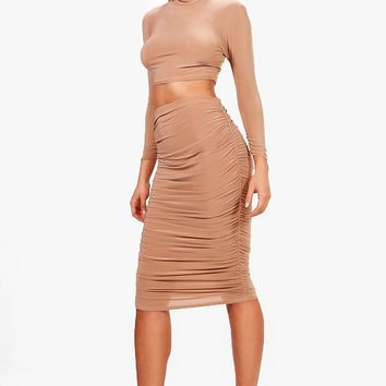 Suvi Rouched Sleeve Midi Skirt Co-Ord Set | Boohoo
