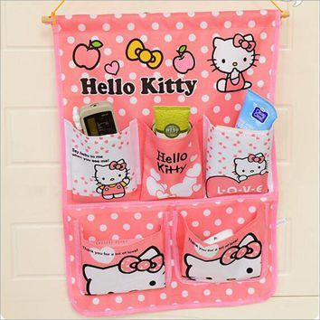 Cartoon Hello Kitty  Door Hanging Bag Multi Pockets Wall Mounted Storage Bag Sundries Organizer Pouch Foldable Storage Bag C