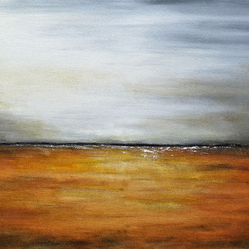 Large Landscape Painting 24 x 36 original modern abstract painting amber gray yellow landscape oil painting