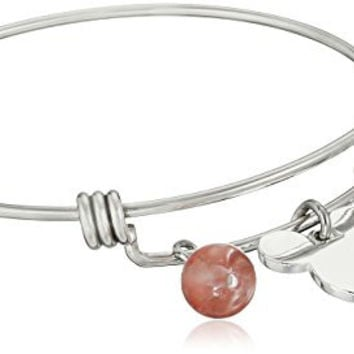 "Disney Stainless Steel Catch Bangle with Silver Plated Mickey Mouse Head, ""Never Stop Dreaming"", and Cherry Quartz Bead Charm Bangle Bracelet"