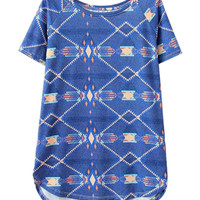 Blue Tribal Print Loose Fitting T-Shirt